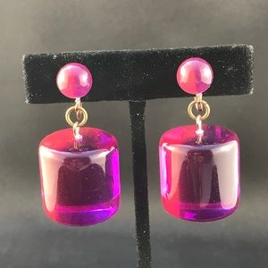 Vintage purple and pink acrylic clip earrings